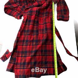 Pendleton Wool Robe Bathrobe Red Black Checkered Tartan Plaid Adult Large