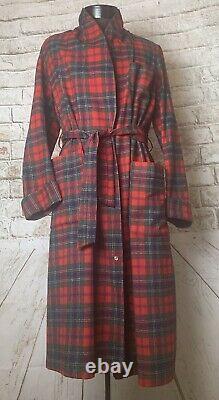 Pendleton men's bathrobe wool red Tartan plaid sz S belt padded elbows Maclean
