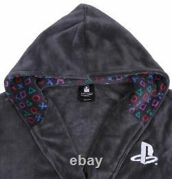 PlayStation grey men's hooded bathrobe