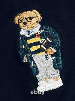 Polo Ralph Lauren Bathrobe Embroidered Football Cruise Navy Toggle Bear