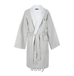 Polo Ralph Lauren Kimono Bathrobe White Sand Beige Stripe Size L