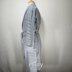 Polo Ralph Lauren Mens Blue White Striped Seersucker Belted Leisure Bathrobe