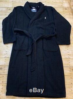 Polo Ralph Lauren Pony Logo Men's Plush Black Cotton Bath Robe One Size New NWT