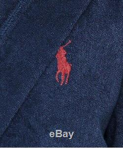 Polo Ralph Lauren Shawl Collar Luxury Towelling Bathrobe Navy Red Horse L/XL