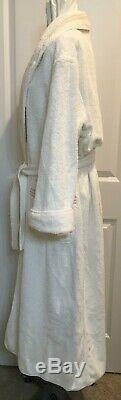 Pratesi Mens White Beige Embroidered 3 Lines Cotton Terry Bath Robe Medium