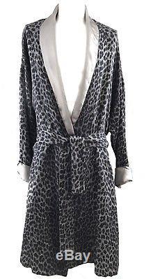 RARE! Gianni Versace Intimo Silk Blend Gray Leopard Print Mens Bath Robe Size 50