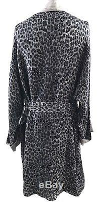 RARE! Gianni Versace Intimo Silk Blend Gray Leopard Print Mens Bath Robe Size 50