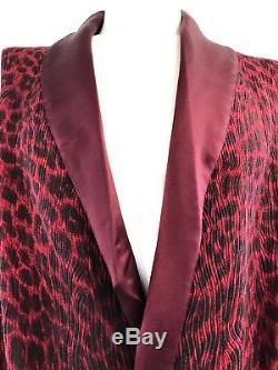 RARE! Gianni Versace Intimo Silk Blend Red Leopard Print Men's Bath Robe Size 52
