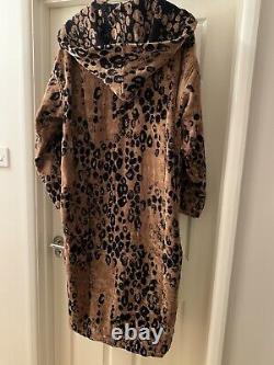 ROBERTO CAVALLI Bathrobe Gown Hooded Terry Towelling Leopard UNISEX XXL VERSACE