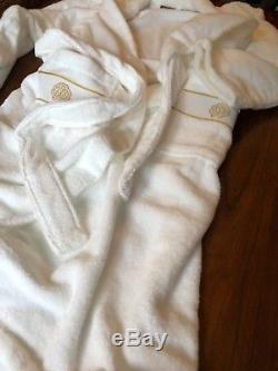 ROBERTO CAVALLI Gold Shawl Bathrobe White Size S/M