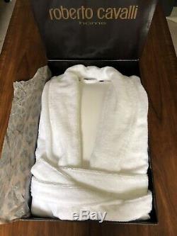 ROBERTO CAVALLI Gold Shawl Bathrobe in White Size S/M