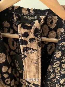 ROBERTO CAVALLI Hooded Bathrobe Gown Terry Cotton Leopard UNISEX XL VERSACE
