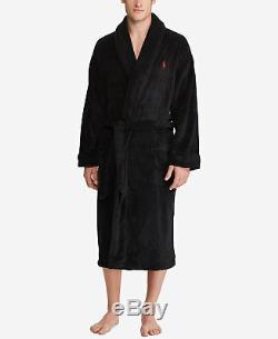 Ralph Lauren Polo Men Lounge Plush Bath Robe Sauna Big Pony Black Gift L XL XXL