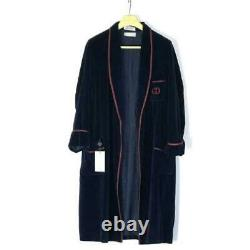 Rare Vintage Gucci Velour Night Gown Bathrobe Size M Navy GG