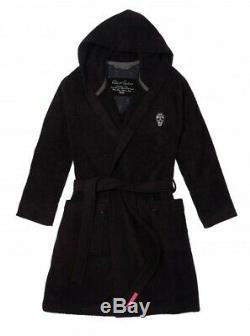 Robert Graham Skull Hooded Bathrobe Terry Cloth Black XL Men Women Unisex