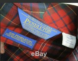 Sir Pendleton Mens sz Large Robe Red Plaid Worsted Pure Virgin Wool Bathrobe