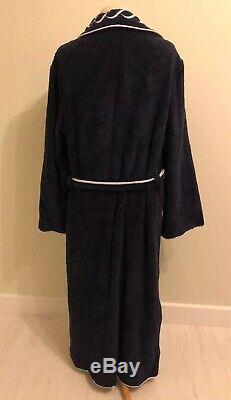 Stunning Navy Blue Italian Designer Pratesi Cotton Robe Bathrobe Size S With Box