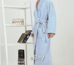 TALL Mens Extra Long TERRY VELOUR BATHROBE (58-63 Long) BLACK & BLUE