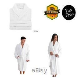 Terry Bathrobe for Women Men Size Small/Medium White 100%Turkish Cotton Spa New