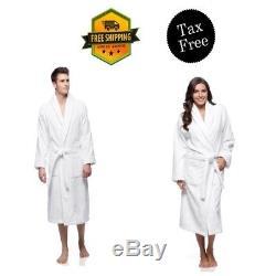 Terry Bathrobe for Women Men Size Small White 100% Turkish Cotton Shawl Collar