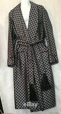 Tom Ford Mulberry Silk Smoking Bathrobe Gray Polkadot Tassel Belt Size L