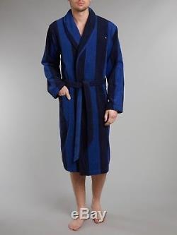 Tommy Hilfiger Men's Terry Bathrobe Robe Bath Stripe Blue Dressing Gown
