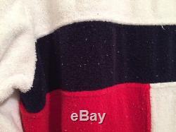 Tommy Hilfiger Mens Red White Blue Block Flag Logo Bath Robe Size S/M Vintage