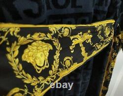 VERSACE Authentic BLUE GOLD LARGE Medusa LOGO BATHROBE Baroque NWT