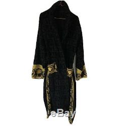 VERSACE Baroque Bathrobe Mens Dressing Gown XL Robe Black Gold Boxed