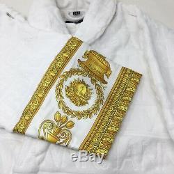 VERSACE Baroque Print Bathrobe White & Gold S/IT 46/ UK 36