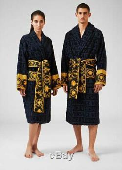 VERSACE I BAROQUE LUXURY DRESSING GOWN COTTON BATHROBE Black Medium BNWT