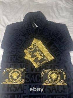 VERSACE I Love Baroque Logo-Jacquard Cotton Bathrobe Blue Size Large