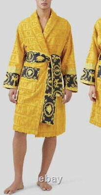 VERSACE Men's Baroque Long Sleeve Bath Robe Size L NWT Gold/ Black RETAIL $595