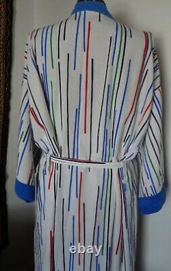 VINTAGE 1970s CHRISTIAN DIOR Monsieur Multi Color Striped Men's Belted Bathrobe