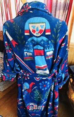 VTG Kachina Doll Native American Indian Terry Cloth Mens Bath Robe Smithsonian