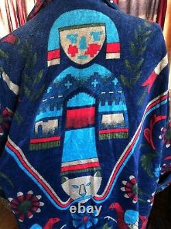 VTG Kachina Doll Native American TerryCloth Men Bath Robe Smithsonian Brazil