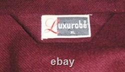VTG NEW LUXUROBE MAROON BATHROBE XL L mens 100% WOOL LOUNGE SMOKING JACKET