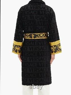 Versace Baroque AUTH Logo BLACK Bathrobe Towel jacquard Nightgown Large XL BNWT