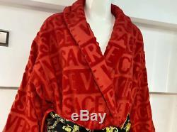Versace Baroque Logo Jacquard Red Bathrobe one Size M