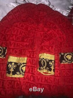 Versace Bathrobe Red Luxury Designer Barocco Print Size Medium