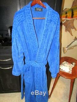 Versace Classic V2 Royal Blue Terry Cloth Bath Robe & Belt