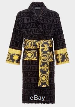 Versace I Baroque Bathrobe Black dressing gown black and gold designer large