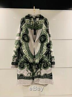 Versace La Coupe Des Diex Bath Robe SILK Green/Grey. MSRP $4125 SOLD OUT! M/L
