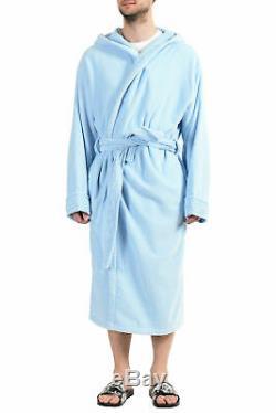 Versace Men's Light Blue Medusa Belted Hooded Bathrobe US 3XL IT 58