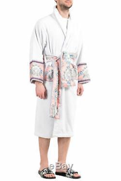 Versace Men's White Medusa Embellished Belted Bathrobe US L IT 52