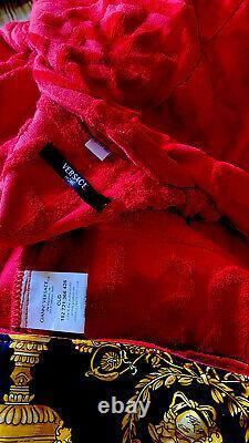 Versace Red and Gold Baroque Print Bathrobe Medium