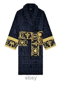 Versace bathrobe 100% cotton Robes comforter bathrobe bathing gown home fit blue