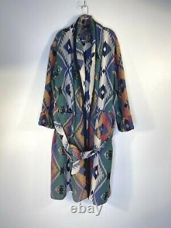 Vintage Beacon Blankets Aztec Geometric Print Bath Robe Size S/m USA Made Cotton
