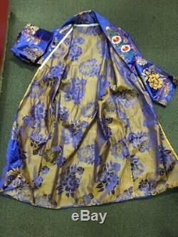 Vintage Blue Gold Silk Souvenir Smoking Bath Robe Kimono Japanese Mens M Japan