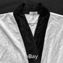 Vintage DOLCE & GABBANA mens bathrobe black and white in cotton & silk chenille